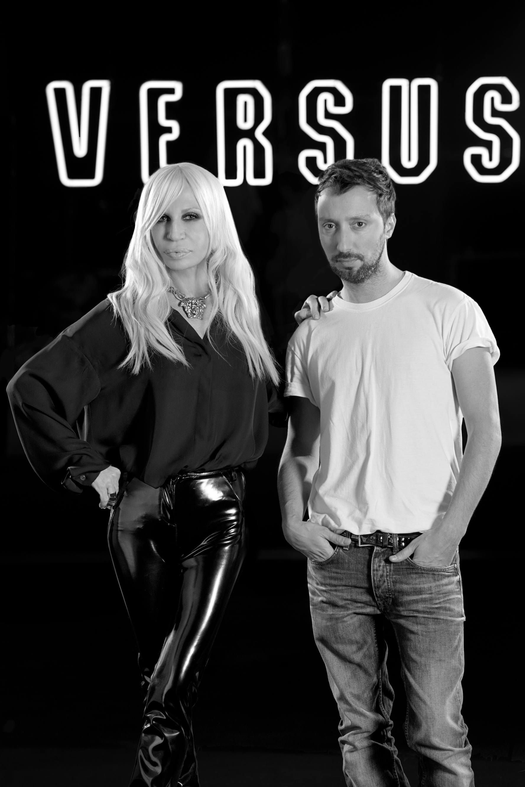 Donatella Versace and Anthony Vaccarello
