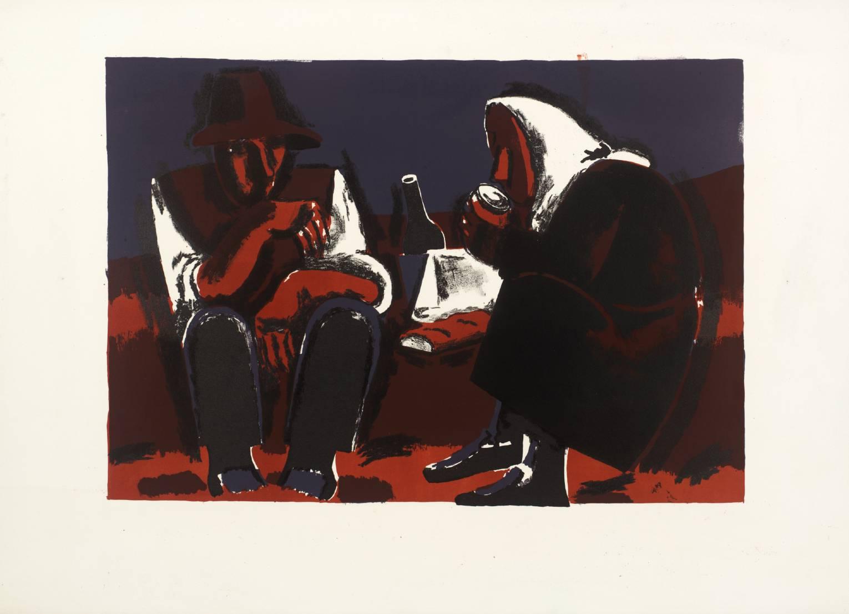 ' Two Seated Peasants '    1961  by  Josef Herman