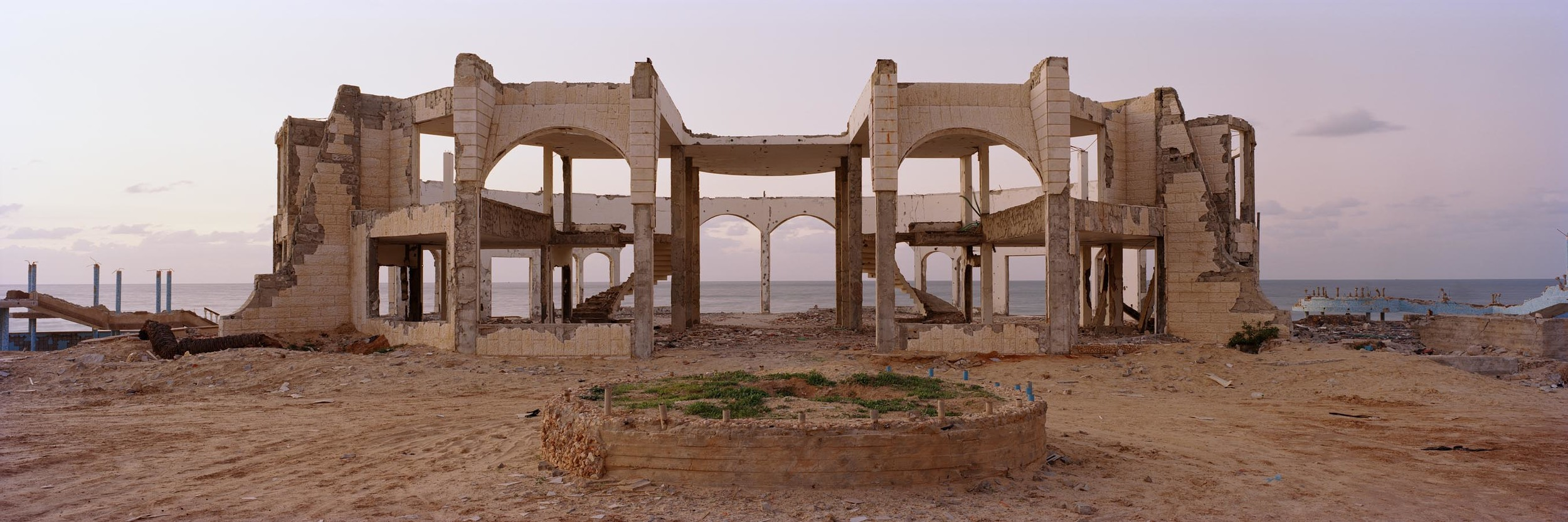 The remains of a hotel and restaurant north Gaza of City which was partly destroyed by Hamas and partly by the Israeli army. Finally by the Israeli army during the attack on the Gaza Strip at the turn of 2008/09. December 2009