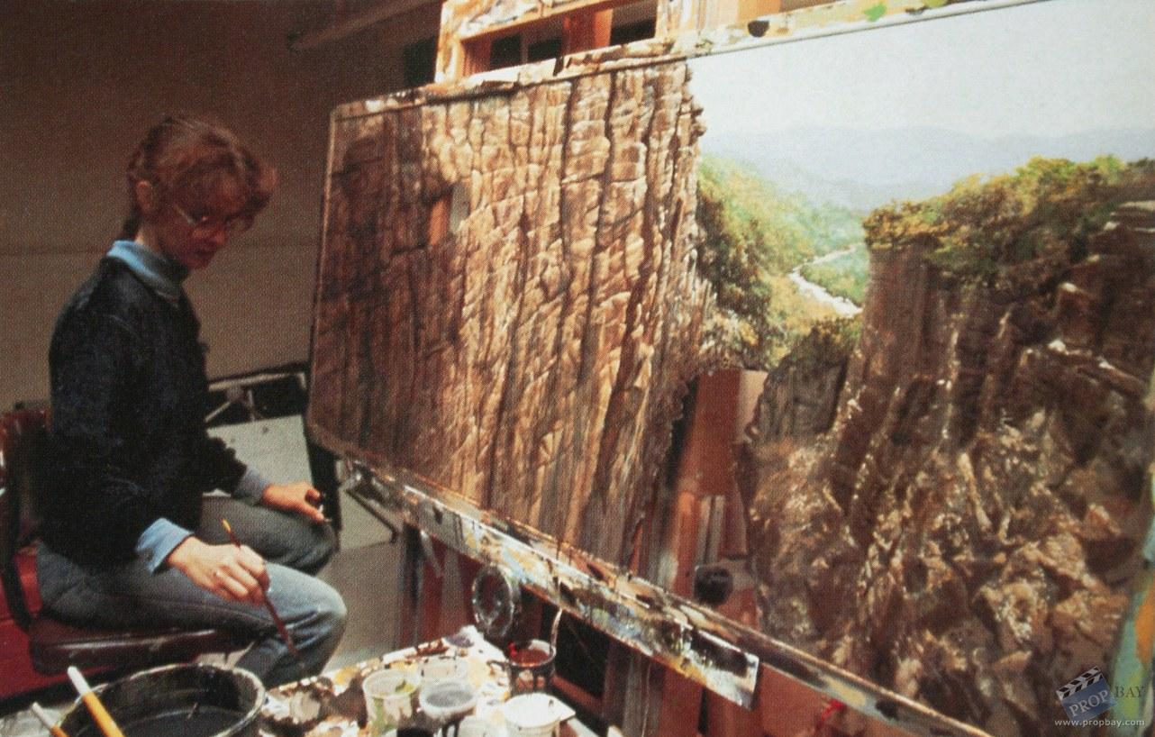 Matte painting for 'Indiana Jones and The Temple of Doom', 1984 by Caroleen Green.