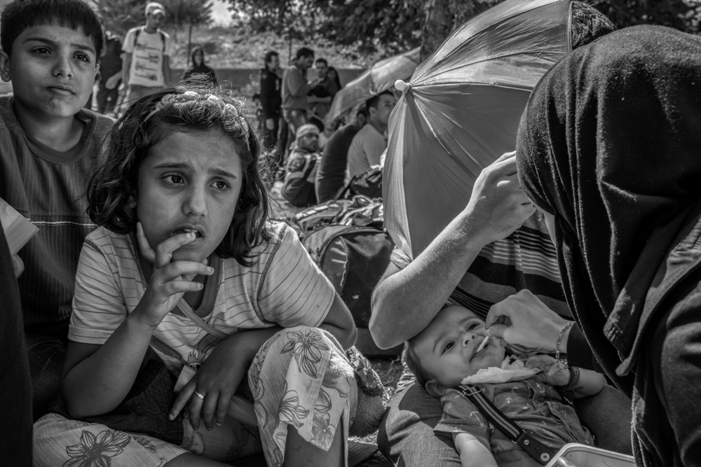 A Syrian family from Homs participate in a sit-in at Istanbul's bus terminal.Istanbul, Turkey. September 16, 2015. Photo by Miguel Winograd.