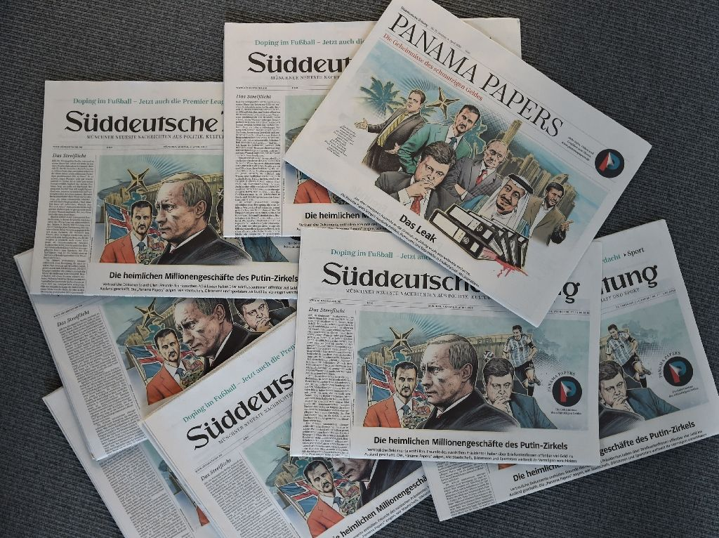 """Several issues of the newspaper dated April 4, 2016 about the """"Panama Papers"""" are seen on April 7, 2016 in Munich, Germany. Photo by Christof Stache."""
