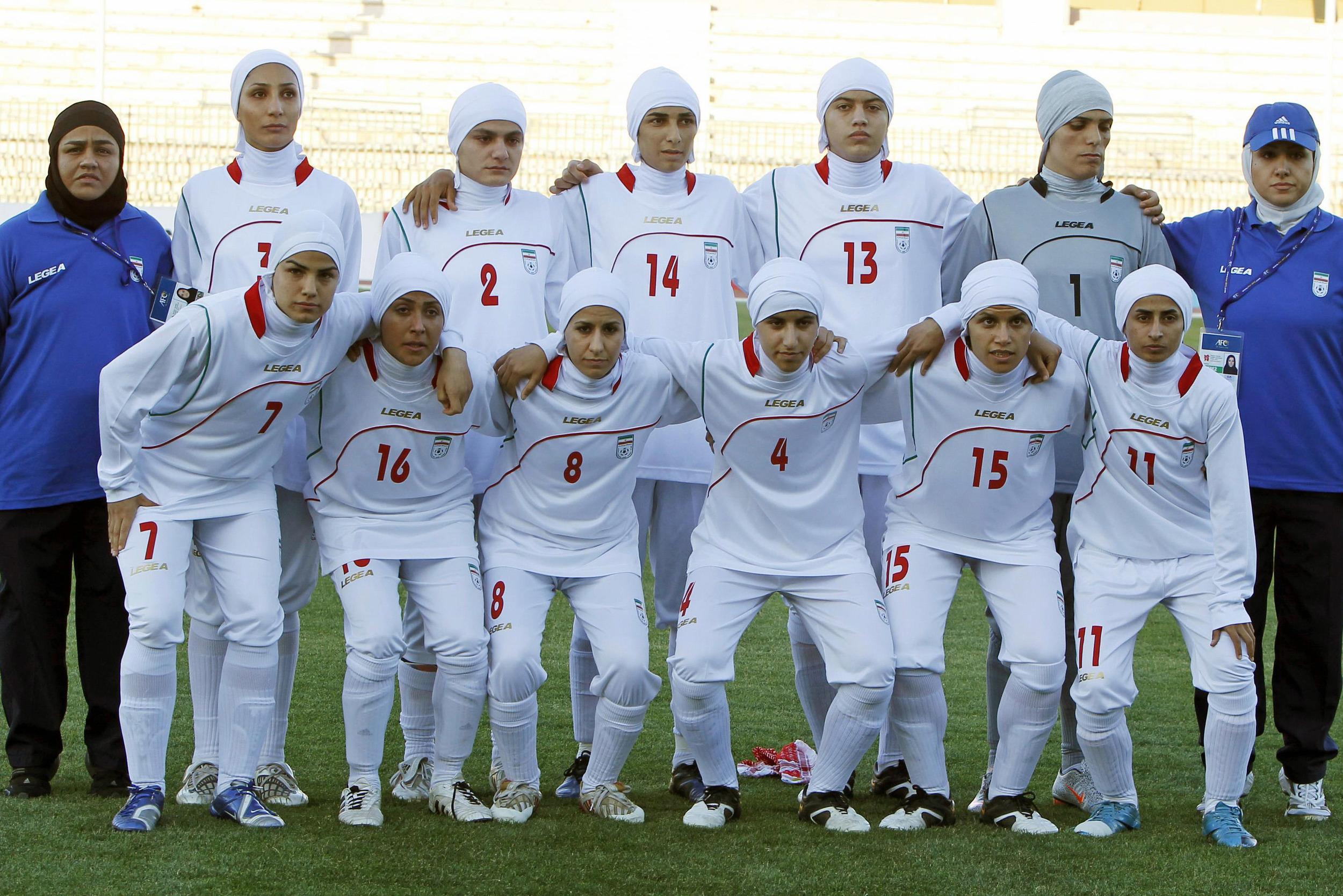 Iran women's football team. Photo by Ali Jarekji/Reuters