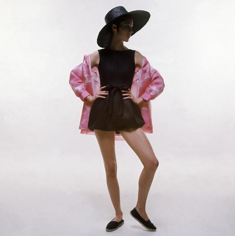 Hubert de Givenchy's ensemble, Photographed by Bert Stern, 1969.