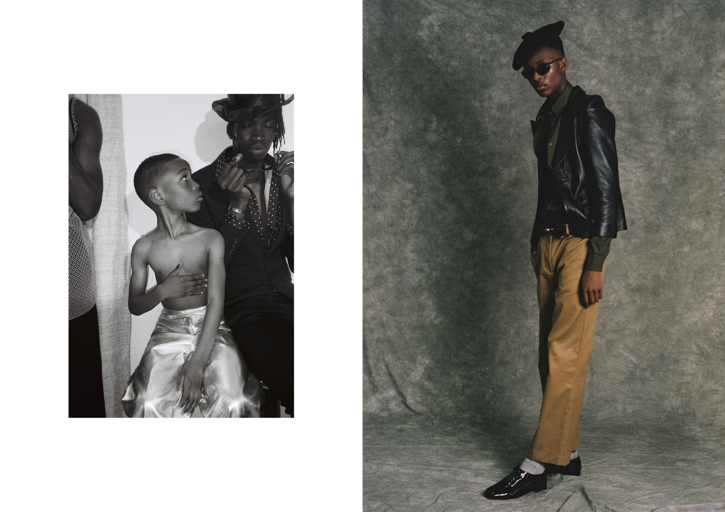 Left: Kyeem wears   Trousers by Gray & Gray from Found & Vision Archive.  Lance wears   Trousers and Jacket by Hedi Slimane for Saint Laurent, Shirt by Acne,Hat stylist's own,   Sunglasses by Careera from Rokit Vintage.  Right: Rabbi wears   Trousers and Shirt by Acne, Jacket Vintage Jaeger from Found and Vision Archive,   Shoes by Repetto , Hat,Belt stylist's own and Sunglasses by Careera from Rokit Vintage.
