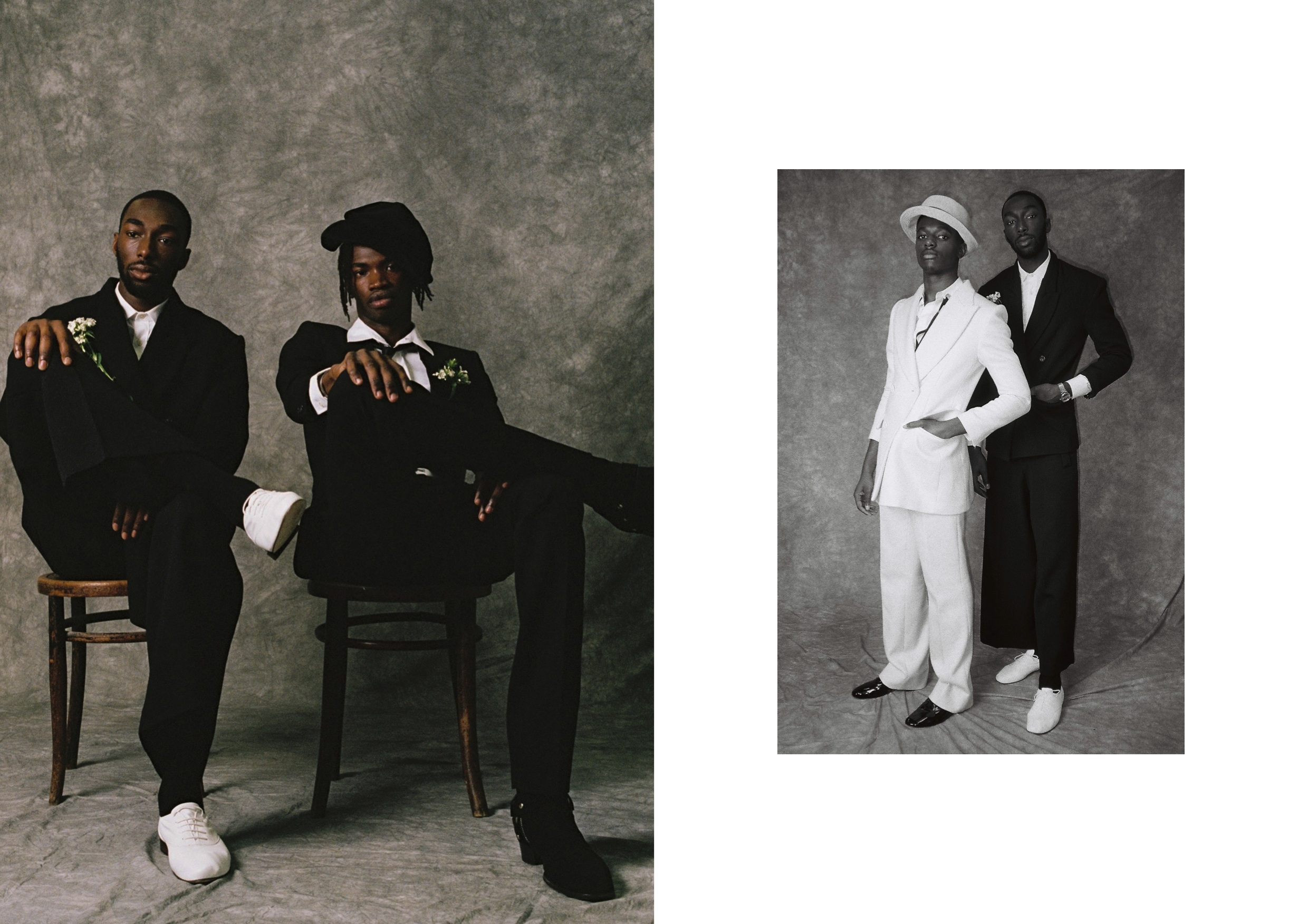 Left:  Keith wears   Trousers and Blazer by Andrew Biscara, Shirt by Hedi Slimane for Saint Laurent and Shoes by Repetto.   Lance wears   Trousers, Tie and Boots by Hedi Slimane for Saint Laurent, Shirt by Acne and Hat stylist's own.  Right: Kent wears   Trousers and Blazer by Abzal Issa Bekov, Shirt by Todd Lynn,  Shoes by Repetto and Hat stylist's own .  Keith wears  Watch stylist's own.