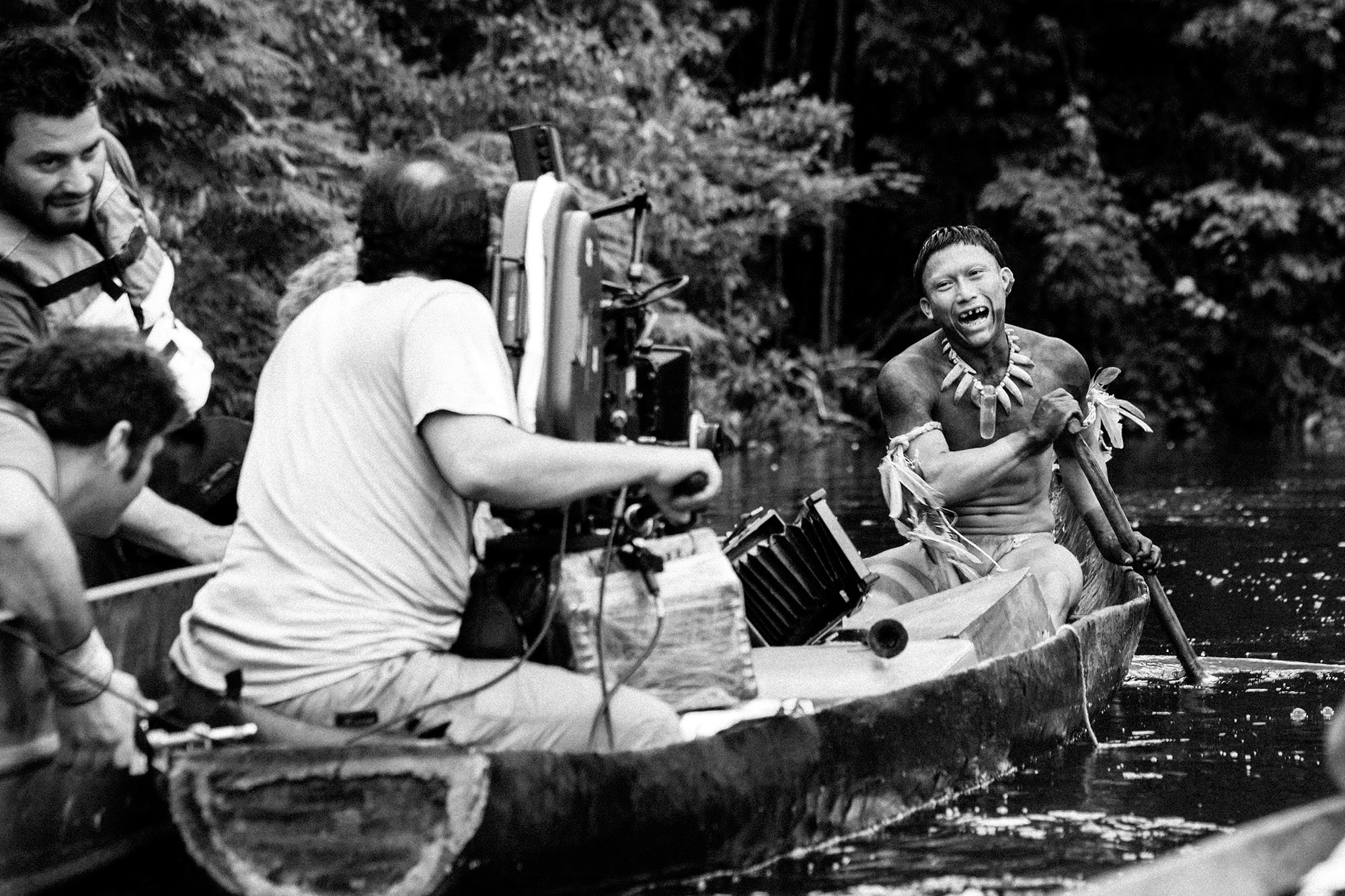 Behind-the-Scenes with Nilbio Torres on the set of  Embrace of the Serpent, 2015.