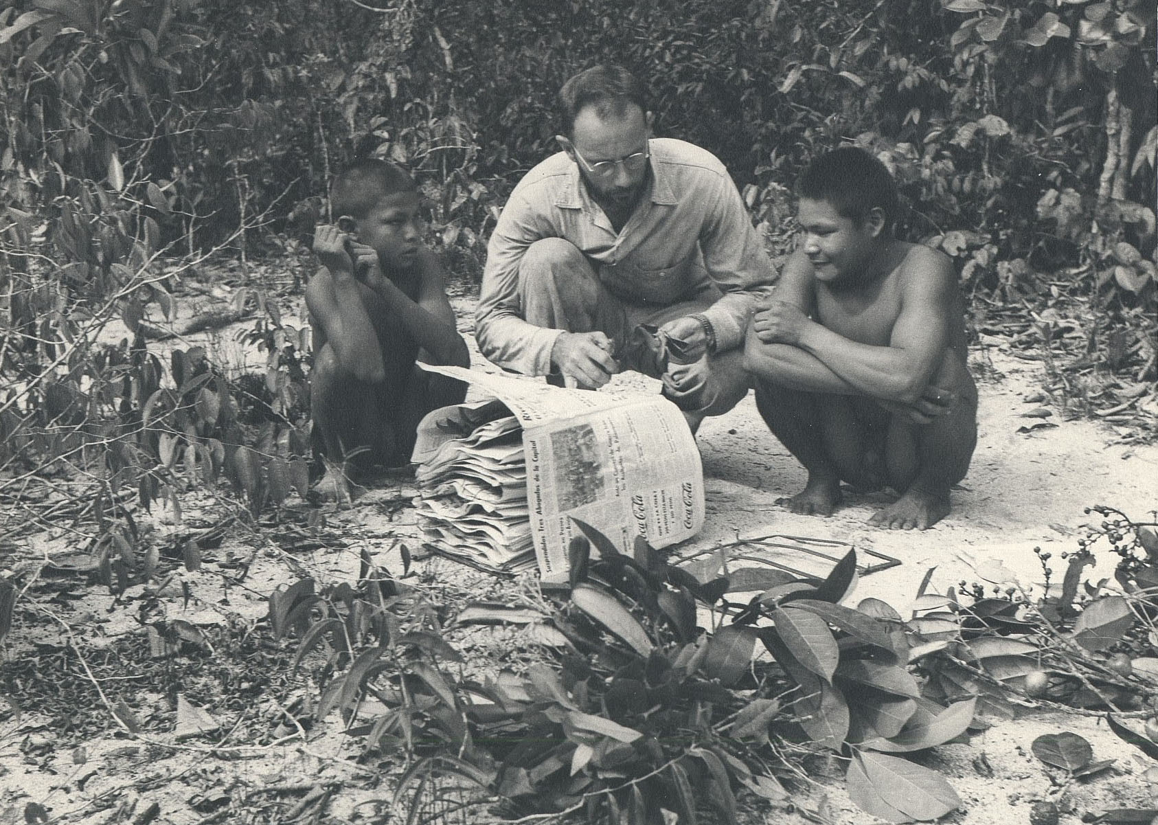 Dr Richard Evans Schultes collecting plants with Maku helpers, 1952.