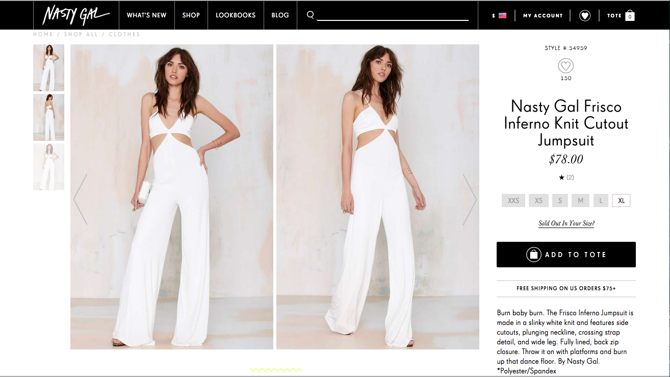 A replica of Balmain's jumpsuit sold at Nasty Gal.