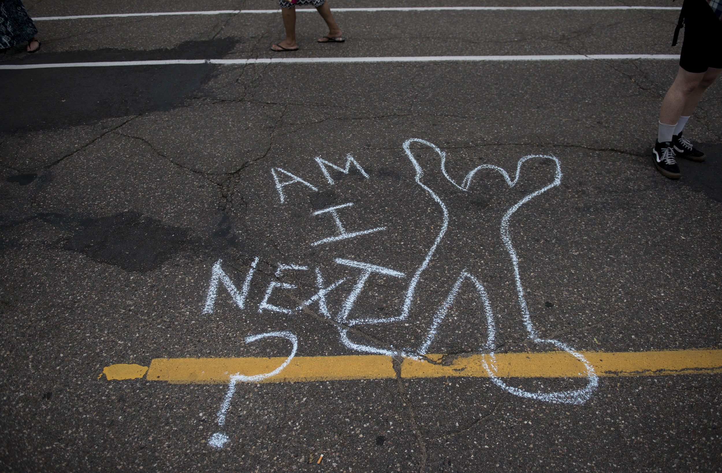 Graffiti  during a protest in support of the Black Lives Matter movement   in New York on   9th July  2016.Photo source: Getty Images/Stephen Maturen