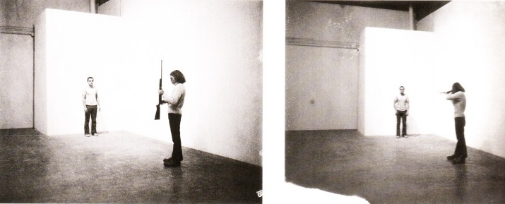 Performance piece titled  Shoot , 1971 by Chris Burden.