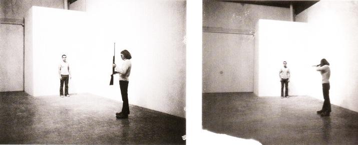Performance piece titled Shoot , 1971 by Chris Burden.
