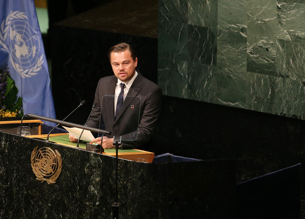 Leonardo DiCaprio speaking at United Nations on April 22, 2016 in New York City. Photo by Jemal Countess/Getty Images.