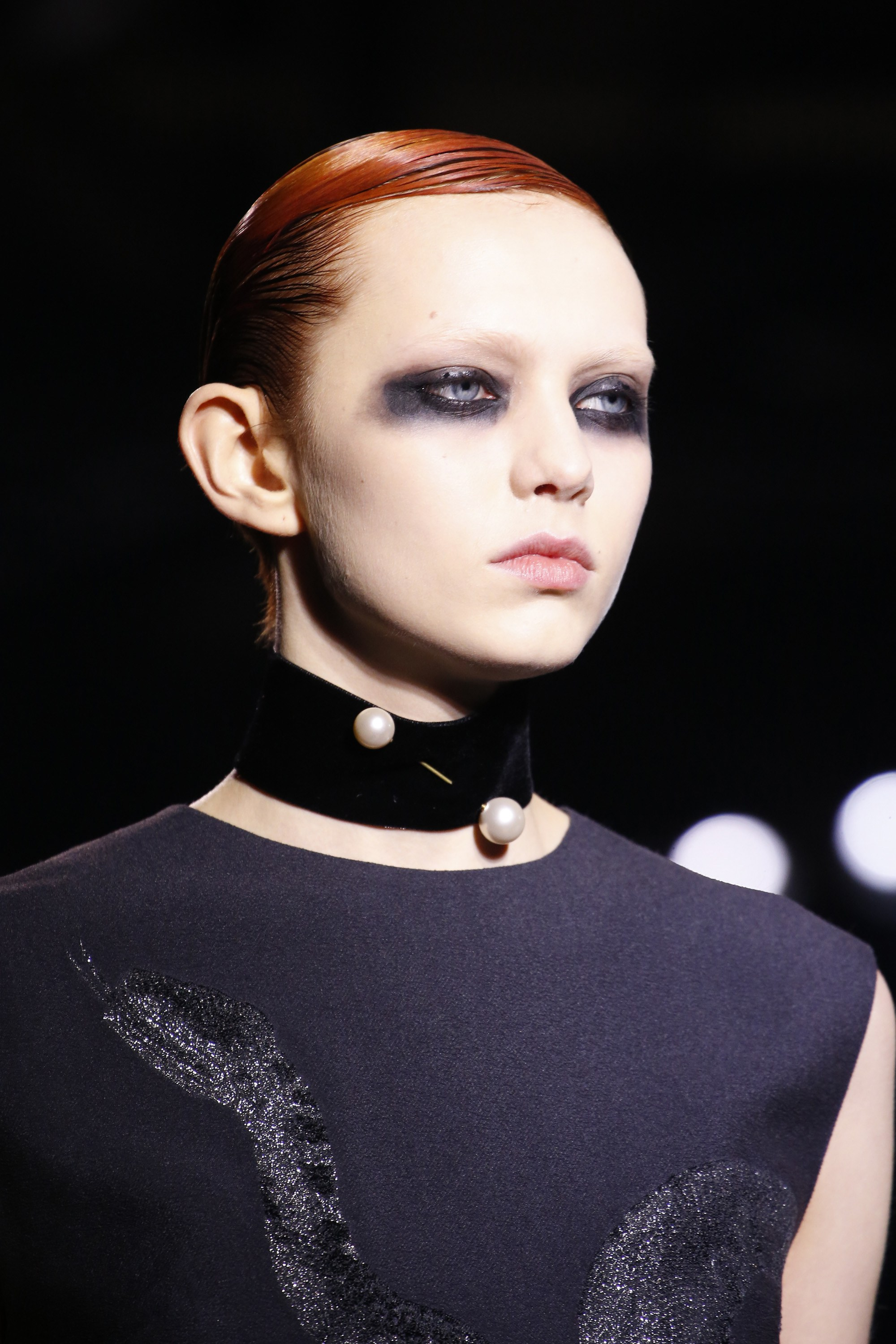 Pinned choker from Dries Van Noten's Fall 2016-17 collection. Photo source:  Vogue  Runway.