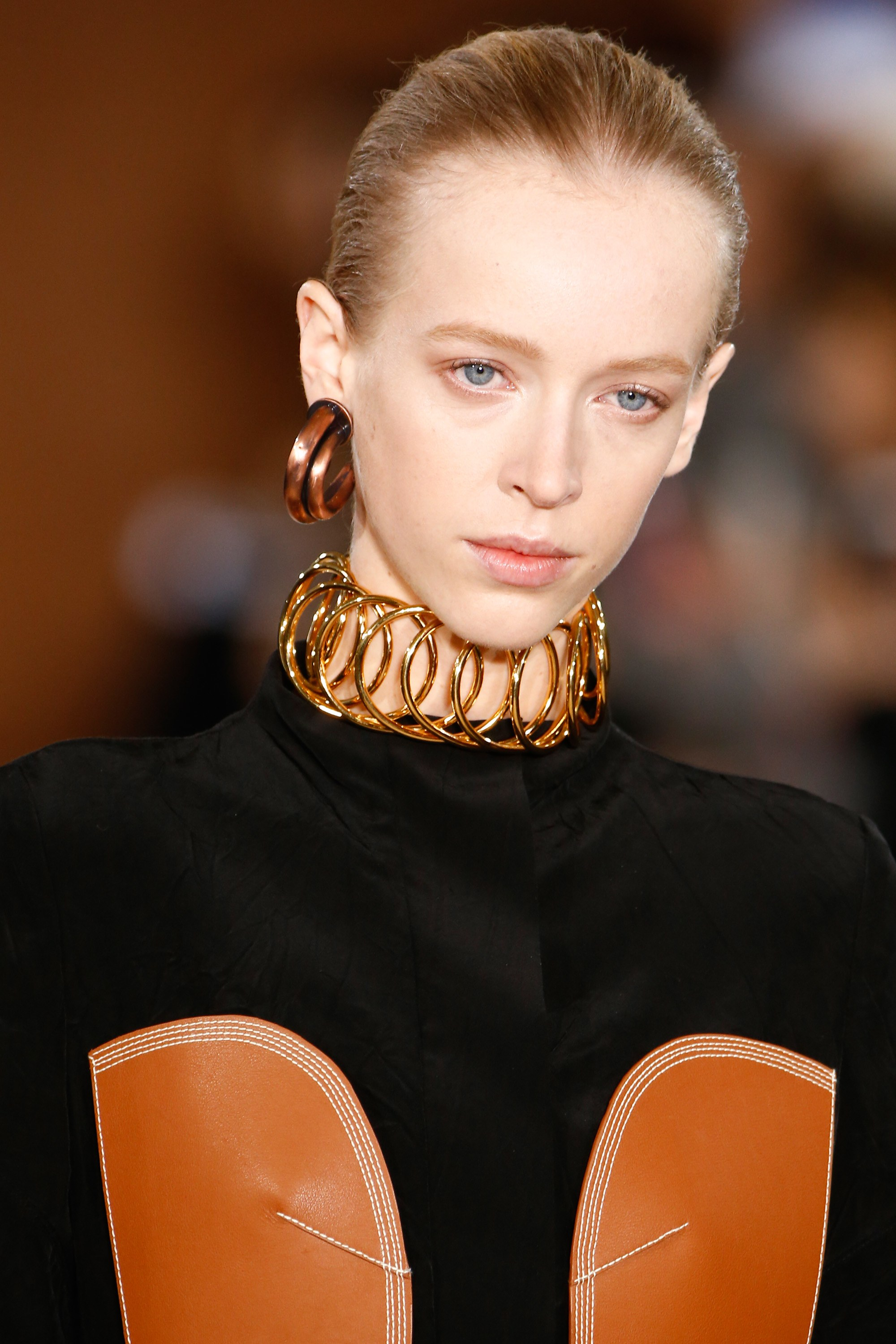 Tribal inspired choker from Loewe  's Fall 2016-17 collection.  Photo source:  Vogue  Runway.