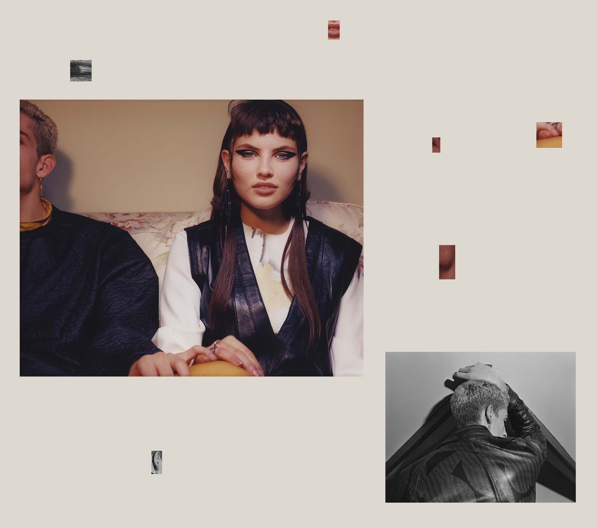 Top Left:Sinclair wears  Top and Jumper   by   Berthold , Earring by   Meadowlark .Angelina wears  Top by   Solace London , Gilet by   Ganni,   Earrings by   Chalayan   and Rings by   Gaelle Khouri . Bottom Right: Sinclair wears    Jacket by   Wooyoungmi .