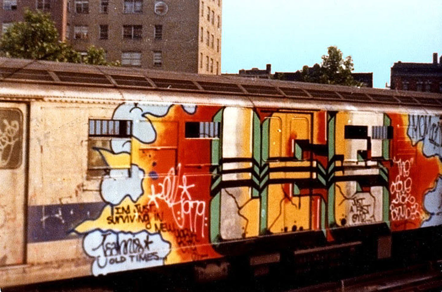 Lee Quinones  painted subway car in the late 70s / early 80s.