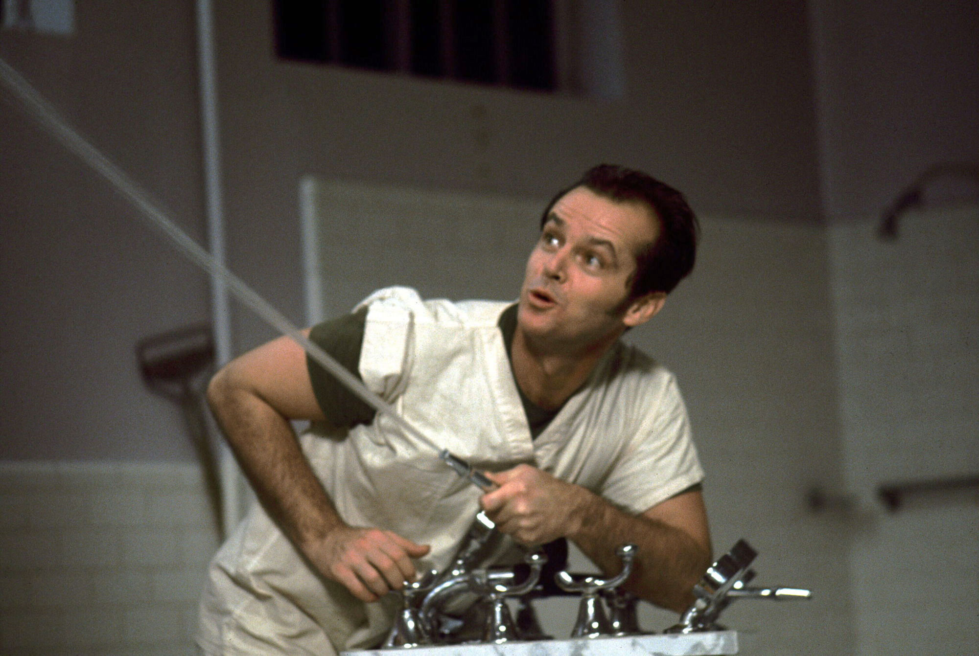 Jack Nicholson as Randle McMurphy in ' One Flew Over the Cuckoo's Nest '1975, directed by Miloš Forman.