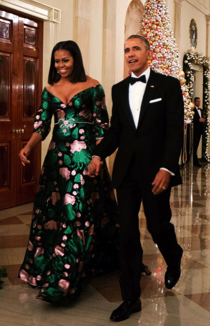 Michelle Obama and Barack Obama at Kennedy Center Honors ceremony, 2016. She wears a custom dress by Alessandro Michele at Gucci.  Photo source: Getty Images.