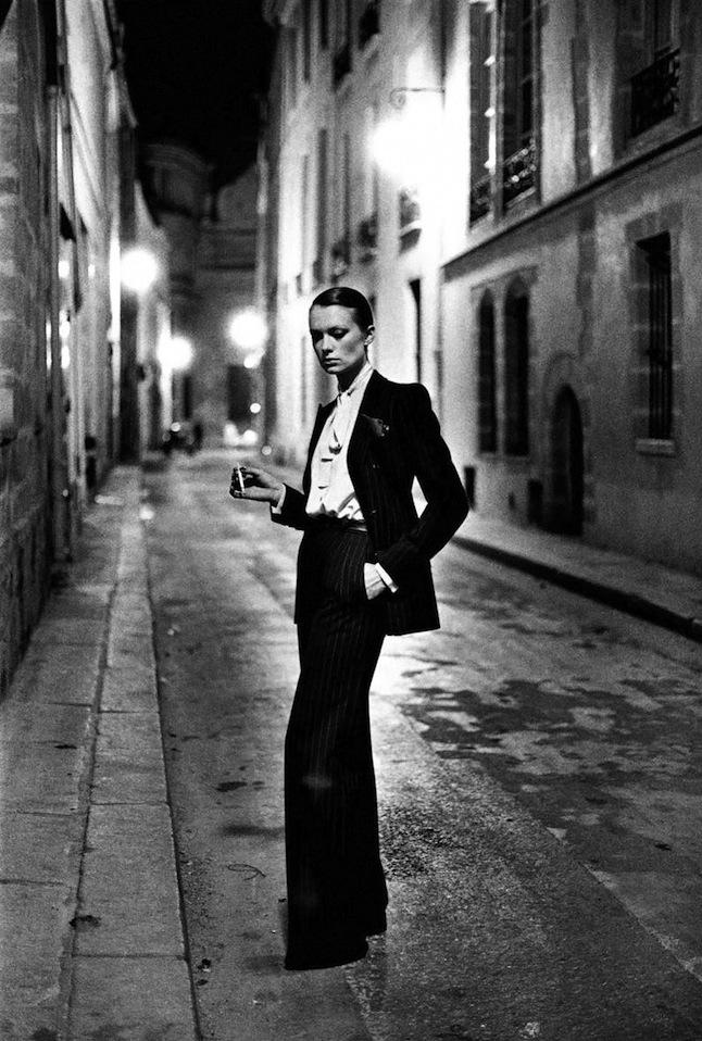 Yves Saint Laurent's  Le Smoking Suit, photographed by Helmut Newton for Paris  Vogue , 1975.