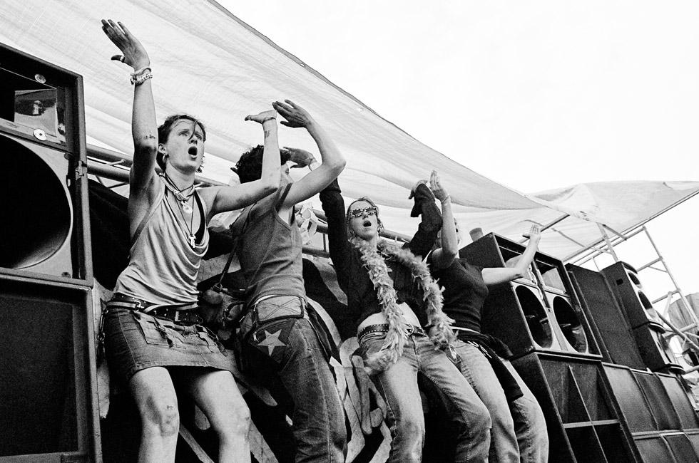Czech girls raving onstage at Czechtek, 2004. Photo by Molly Macindoe.