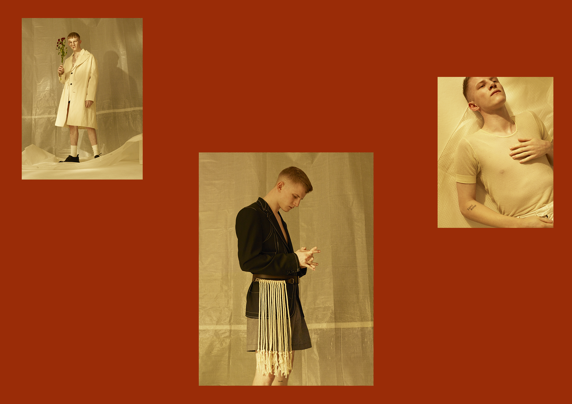 Left: Jacket and Coat by   Lou Dalton ,  Socks by   Falke   and Shoes by   Dries Van Noten .Center:  Shorts by   E. Tautz   and Belt by   Dries Van Noten . Right:  Top by   Dries Van Noten .