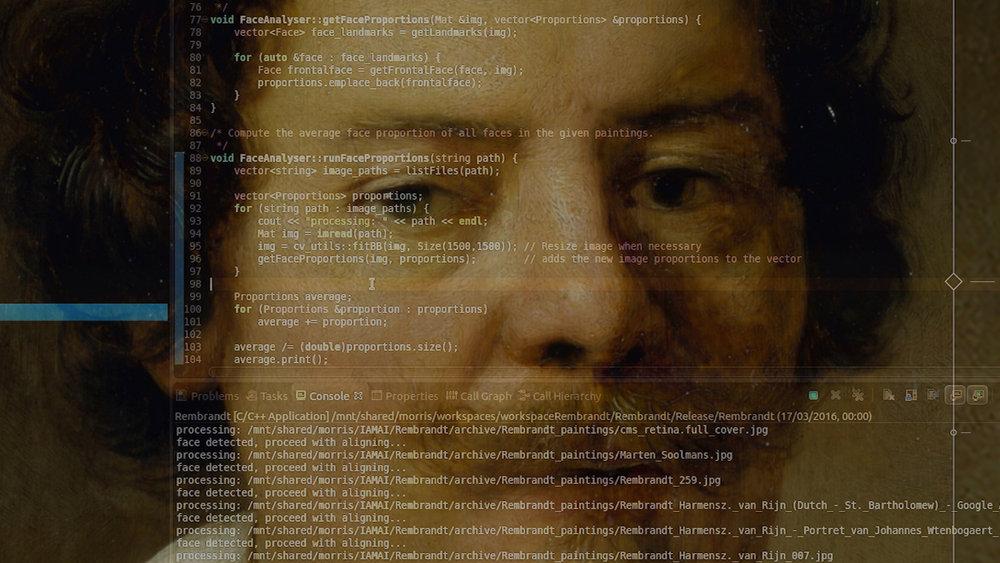 3-D scanner collecting data on Rembrandt's original artwork.