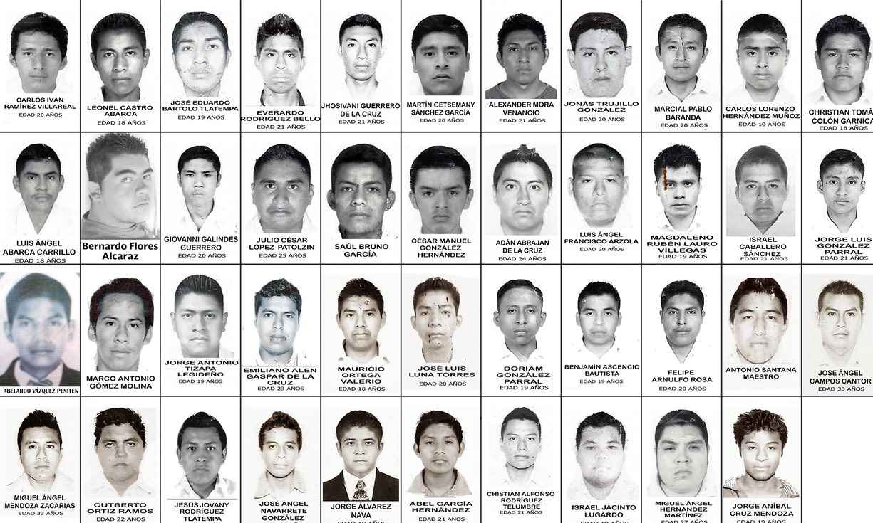 The 43 students who disappeared. Photo source: Public Domain.