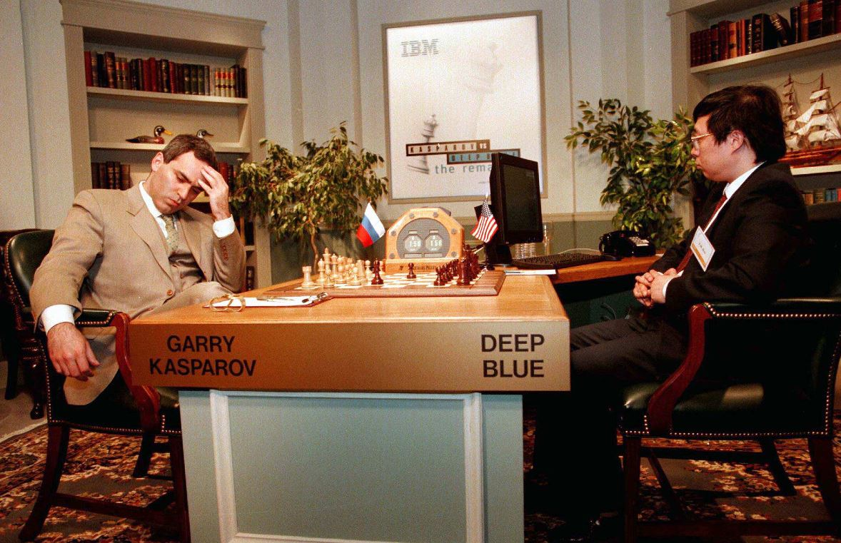 Garry Kasparov in a chess game against IBM supercomputer Deep Blue, 1997. Photo source:  Reuters .