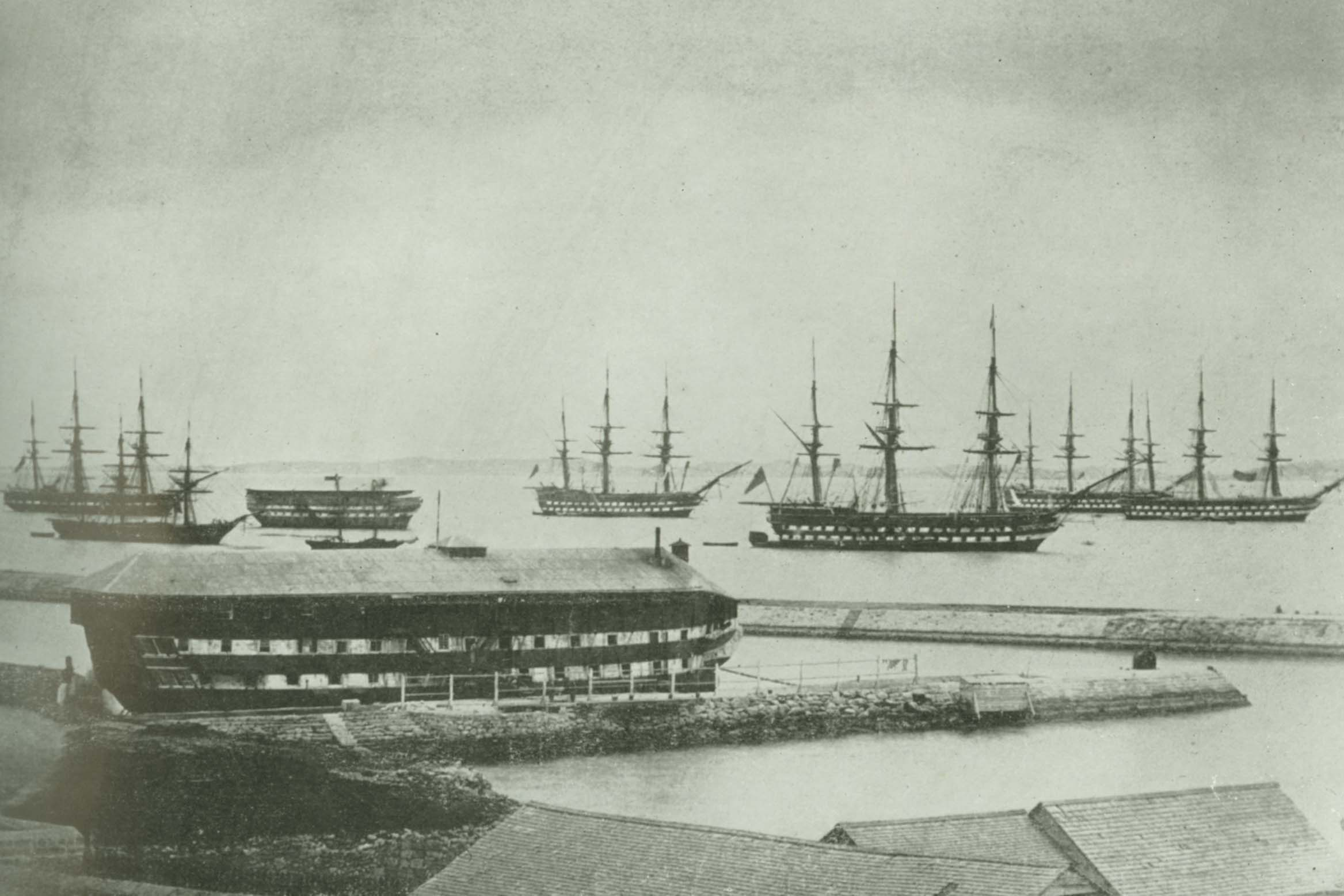 British fleet in Grassy Bay in 1862 with convict hulk. Photo source: National Museum of Bermuda.