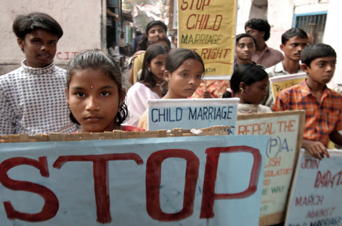 Child Not Bride protest in India. Photo source:  Al Jazeera .