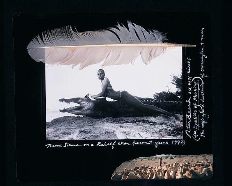 Naomi Simms on a Rudolf Croc , 1972 by Peter Beard.
