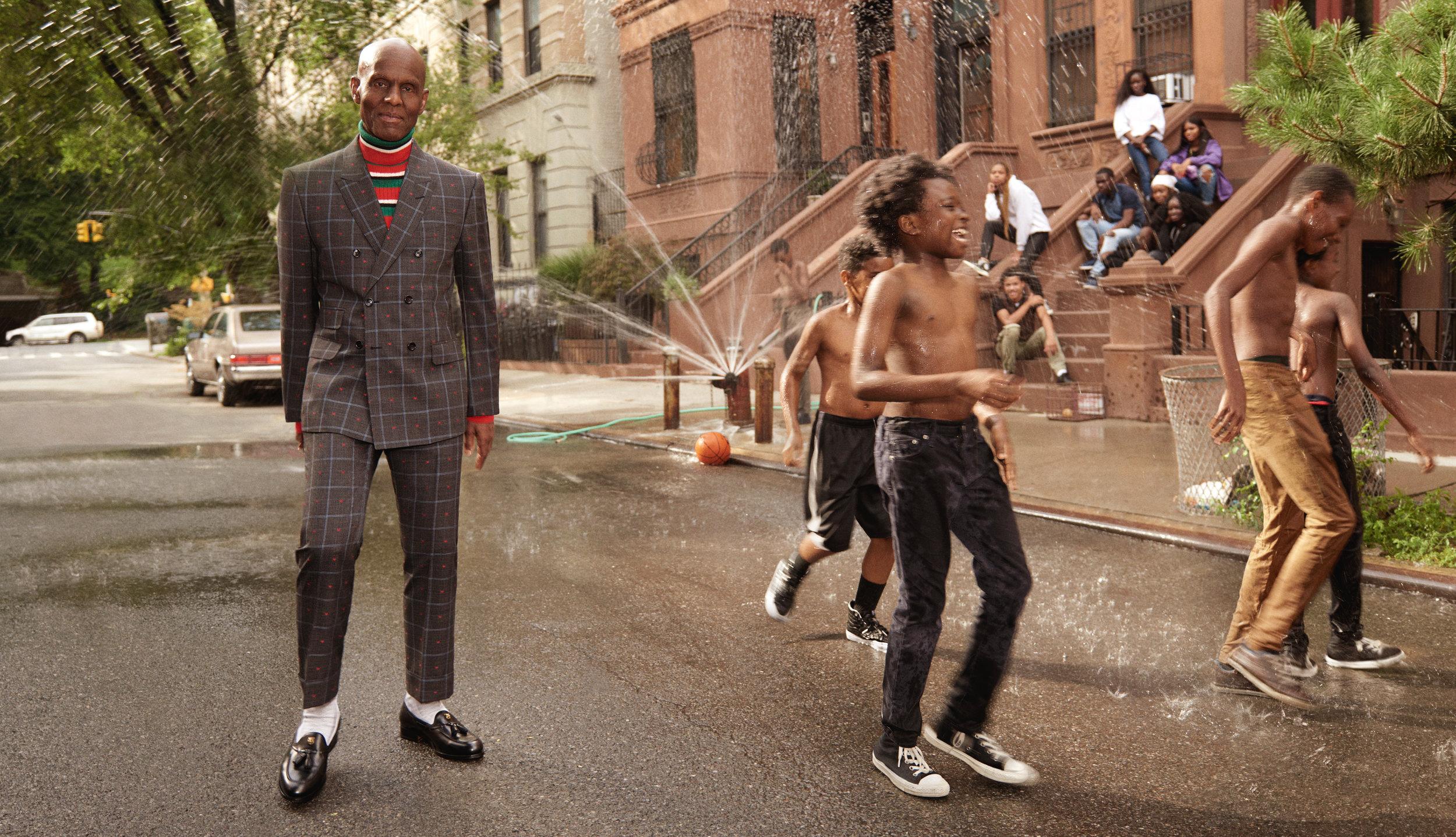 Dapper Dan in Gucci's Mens Tailoring campaign shot by Glen Luchford