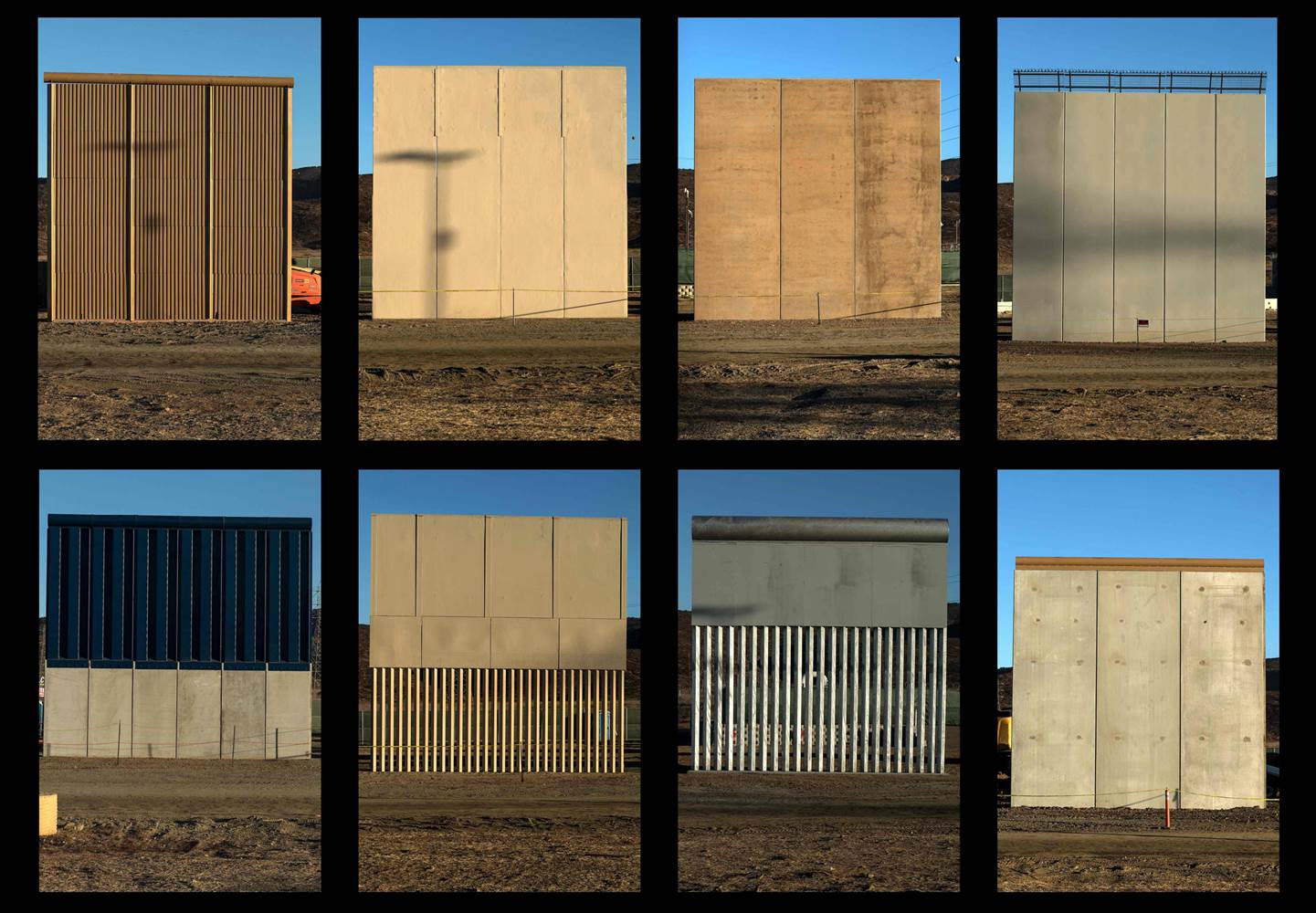 This combination of pictures shows the eight prototypes of President Donald Trump's U.S.-Mexico border wall near San Diego seen from across the border from Tijuana, Mexico. Photo by Guillermo Arias.