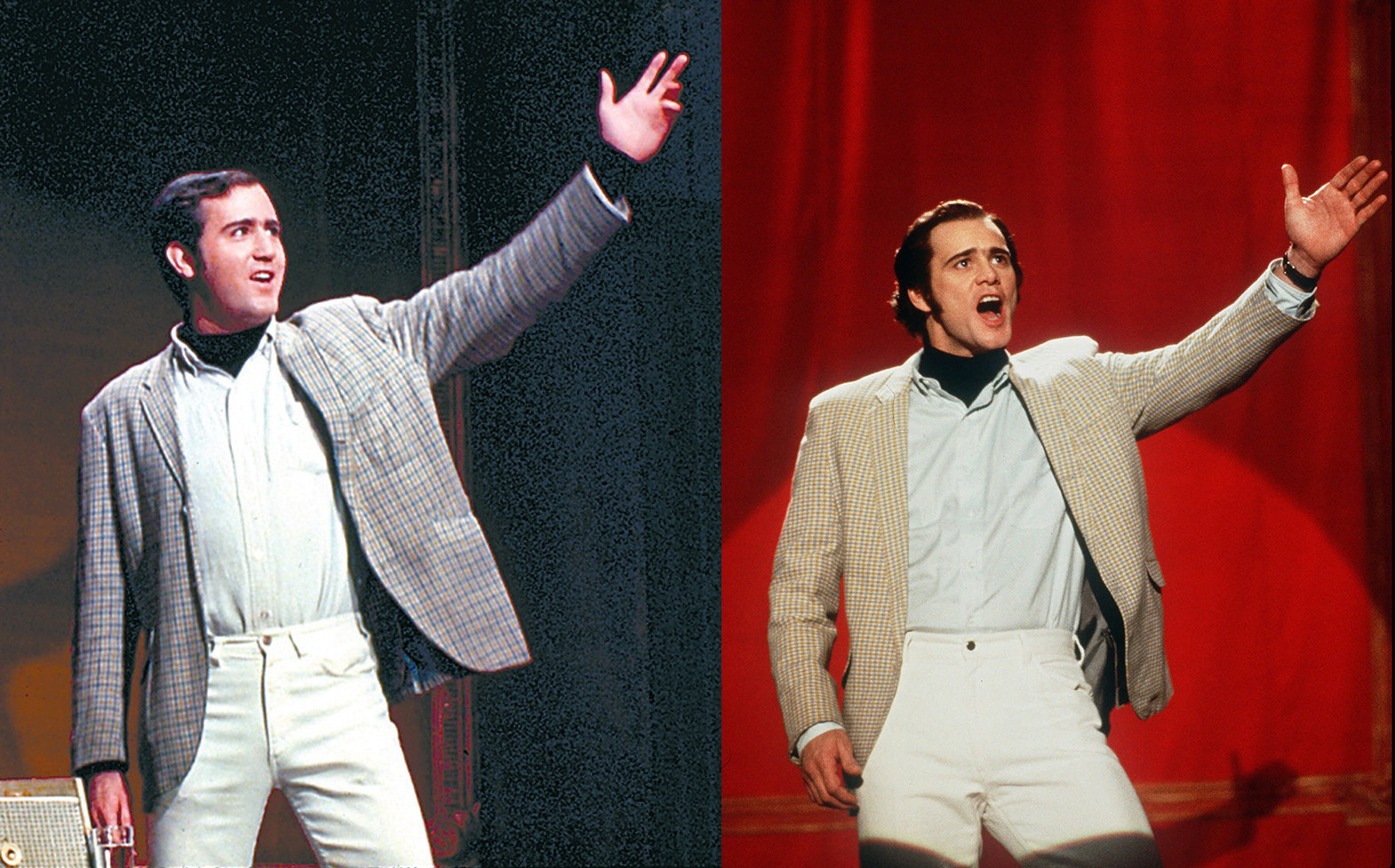 Left: Andy Kaufman on stage for his comedy set. Right: Jim Carrey as Andy Kaufman in a scenes from Man on the Moon,1999). Photo source: The Hollywood Reporter .
