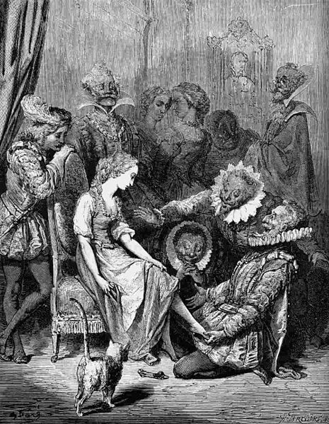 19th century illustration by Gustave Doré's 1864 edition of  Histoires ou contes du temps passé (Stories or Fairy Tales from Past Times with Morals), a collection of literary fairy tales written by Charles Perrault, originally published in 1697.