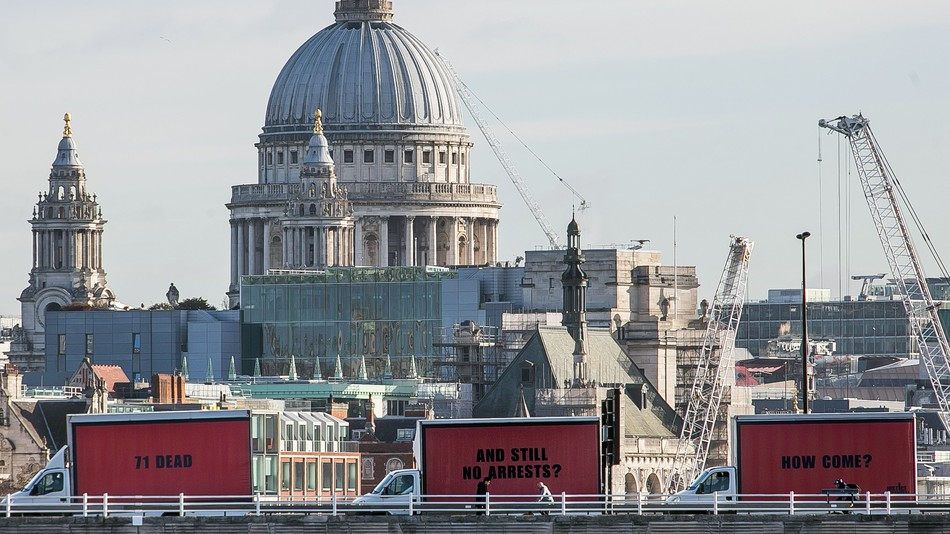 Inspired by the film  3 Billboards Outside Ebbing,Missouri , Justice4Grenfell campaign calls for change and justice with a moving billboard, carrying a message and questions around London city.