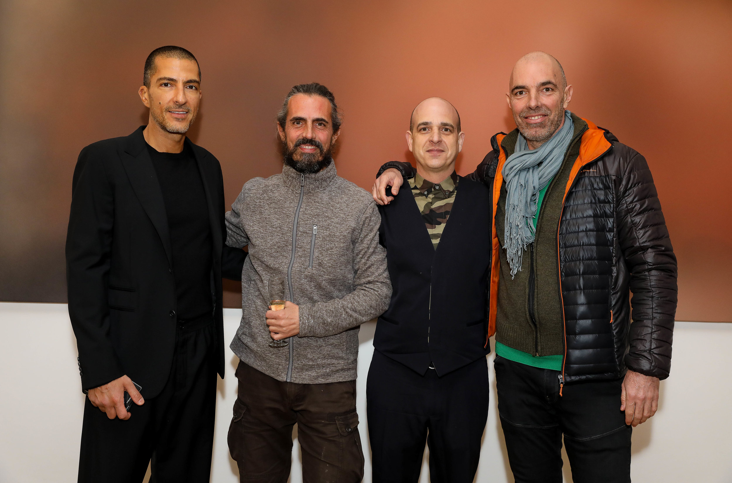 Wissam Al Mana, Miaz Brothers and Steve Lazarides at  Anonymous'  private view, Lazinc gallery. Photo by David M. Benett/Dave Benett
