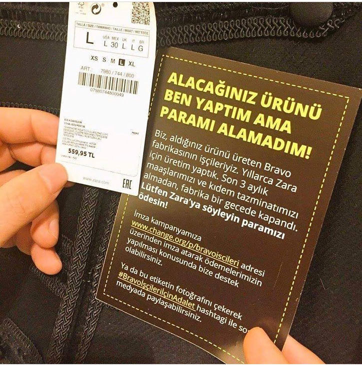 Unpaid Zara, Mango and Next manufacturers leave hidden protest messages in clothes. Photo source:  It'sNiceThat