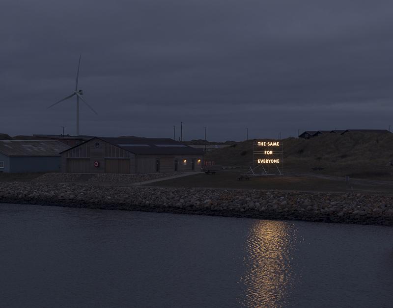 The Same for Everyone,  2017,Hvide Sande Havn, Nordhavnskaj by Nathan Coley.