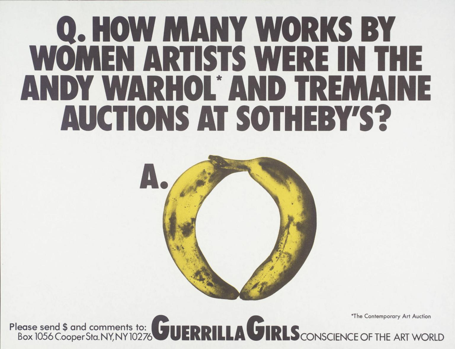 Women Artists In The Andy Warhol And Tremaine Auctions At Sotheby's,  1989 by Guerrilla Girls.