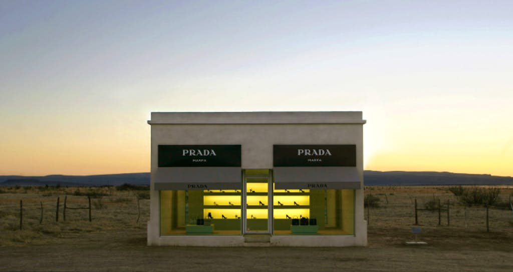 Installation view:  Prada Marfa,  2005  by  Elmgreen and Dragset.
