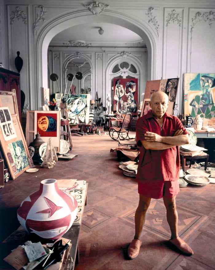 Pablo Picasso in his studio, 1956.