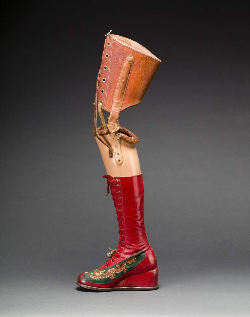 Frida Kahlo's prosthetic leg with leather boot. Photo by Javier Hinojosa.