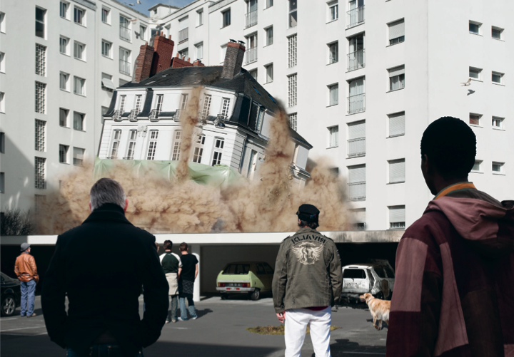 From  PETRIe 69 :  Implosion #4 , from the series ' Downtown Corrida. ' Nantes, 2009 by Alban Lécuyer.