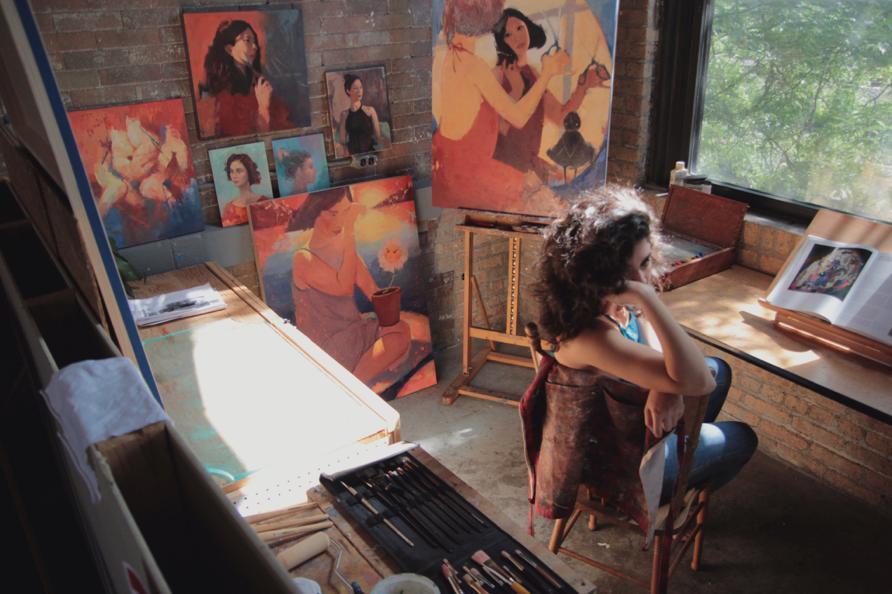 Cristi in her studio. Photo by  Sarah Angileri .