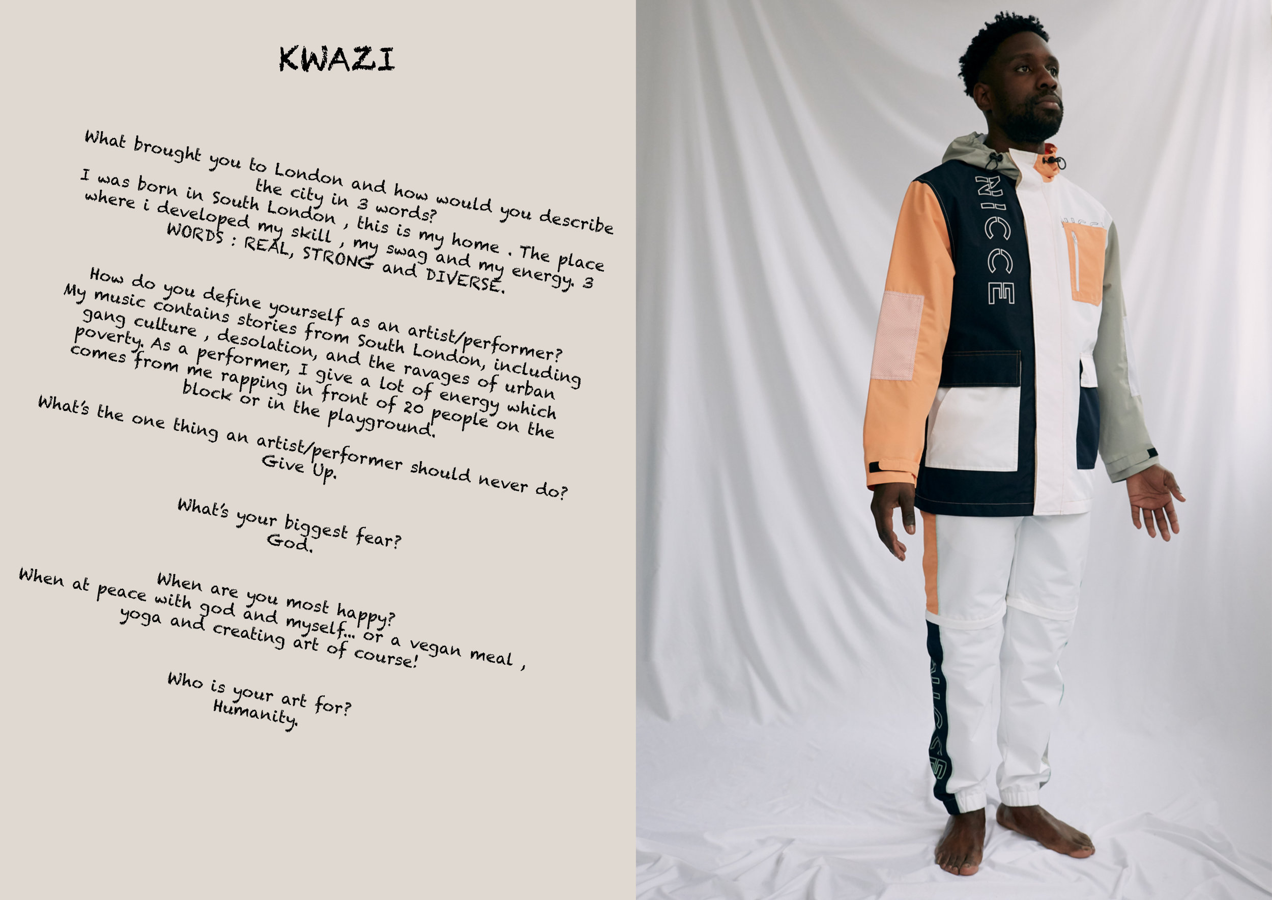 Kwazi wears Trousers and Jacket by   Nicce .