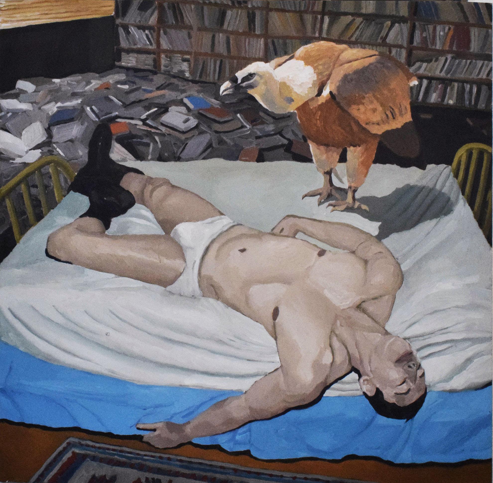 Eyes closed,  150 x 150, acrylic on canvas.