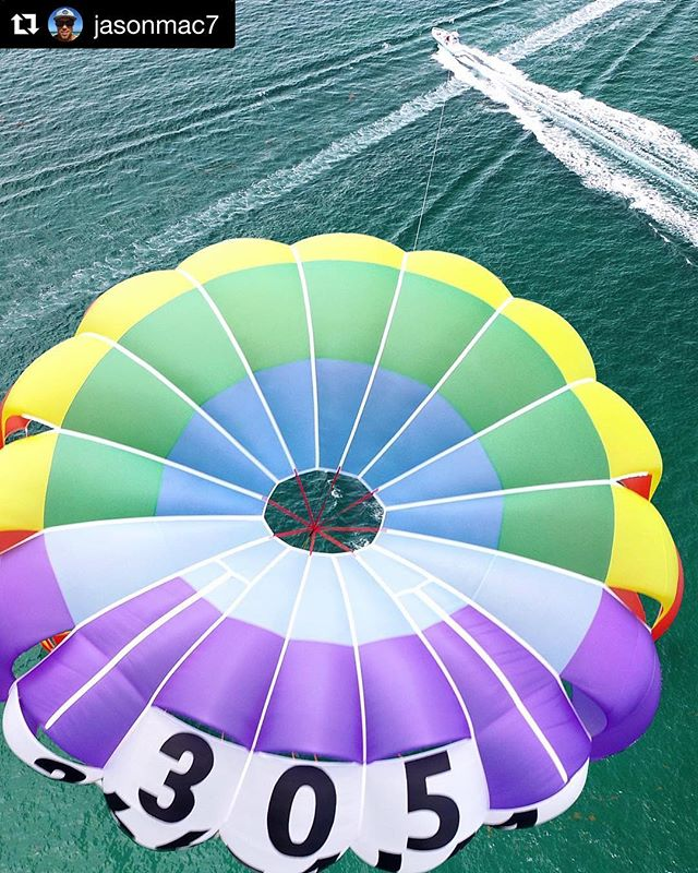 Great drone shot from @jasonmac7 #parasailing #southbeach #miamibeach #miami #bucketlist