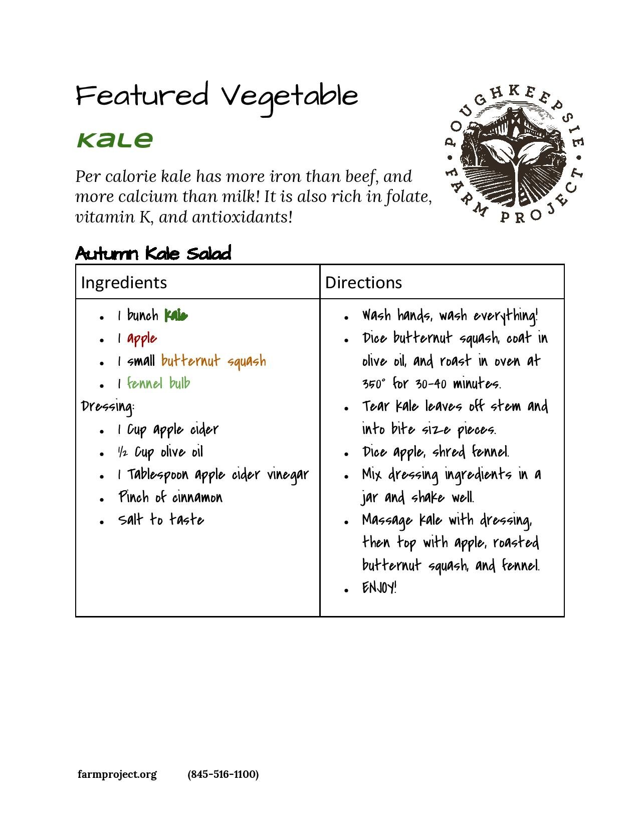 Autumn Kale Salad - Try out this autumn kale salad recipe - perfect for the end of the season as we head into winter. Combining this superfood with other favourite autumn produce like butternut squash and apples is just one of many ways we serve up kale salad here at the farm. Experiment with other fruit, nuts, beans and veggies to find your favorite combo!